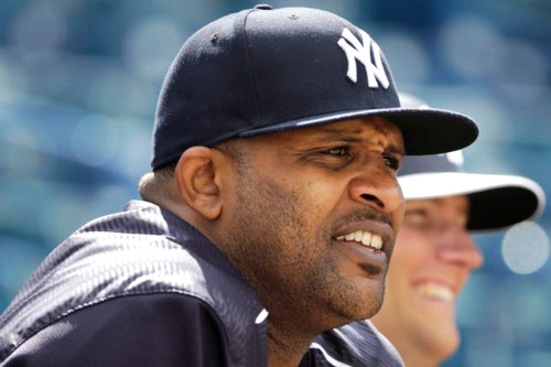 New York Yankees starting pitcher CC Sabathia watches a fielding drill before an exhibition baseball game against the Detroit Tigers in Tampa, Fla., Tuesday, March 24, 2015. (AP Photo/Kathy Willens)